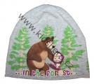 Bavlněná čepice Máša a medvěd - šedá