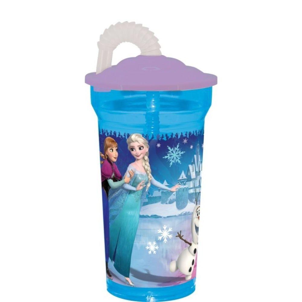 Dětská plastová láhev na pití s brčkem FROZEN Disney