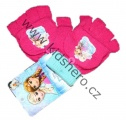 Prstové rukavice se zakrytím - FROZEN - Růžovo-zelené