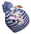 Čepice s bambulí Minnie-pruhy - modrá