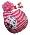 Čepice s bambulí Minnie-pruhy - tm.růžová