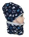 Dětský set - čepice + nákrčník - modro-šedý - velký