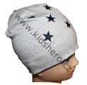 Dětská bavlněná čepice - hvězdičky - šedo-modrá