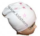 Dětská bavlněná čepice - hvězdičky - bílo-růžová