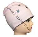 Dětská bavlněná čepice - hvězdičky - růžovo-šedá