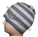 Dětská bavlněná jarní čepice - pruhy - šedá