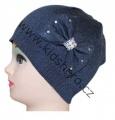 Dětská čepice s mašlí - úpletová - modrá
