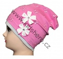 Čepice se spadlým vrškem- bavlněná-mašle-sv.růžová