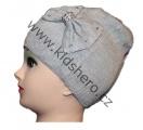 Dětská čepice s mašlí - úpletová - šedá