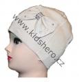 Dětská čepice s mašlí - úpletová - béžová