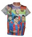 Triko krátký rukáv FC BARCELONA - šedé s hráči