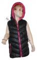 Dětská vesta - černo-růžová