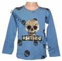 Měnící tričko, triko - dl.rukáv - chlapecké - lebka - sv.modré