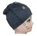 Dětská bavlněná čepice - hvězdičky - šedá