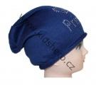Čepice se spadlým vrškem- úpletová - modrá