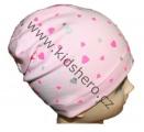 Čepice se spadlým vrškem- bavlněná-srdíčka-sv.růžová