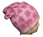 Čepice se spadlým vrškem- bavlněná-sova-sv.růžová