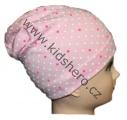 Čepice se spadlým vrškem- bavlněná-puntíky-sv.růžová
