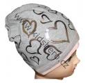 Čepice se spadlým vrškem- srdce-šedá