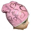 Čepice se spadlým vrškem- srdce-sv.růžová