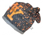 Čepice se spadlým vrškem- šedo-oranžová-žíhaná