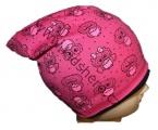 Čepice se spadlým vrškem- bavlněná-sova- tm.růžová
