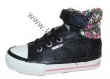 Dětské kotníkové boty BK - BRITISH KNIGHTS-černo-růžové-kytky