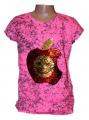 Měnící tričko, tunika - růžové-fosforové - jablko