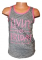 Dívčí sportovní tílko KUGO - šedo-růžové