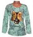Měnící tričko, tunika - dl.rukáv - zelené - sova