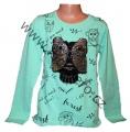 Měnící tričko, tunika - dl.rukáv - zelené -velké - sova