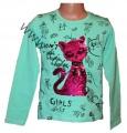 Měnící tričko, tunika - dl.rukáv - zelené-kočka-malé
