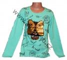 Měnící tričko, tunika - dl.rukáv - zelené-malé-sova