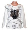 Měnící tričko, tunika - dl.rukáv - bílé-malé-sova