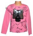 Měnící tričko, tunika - dl.rukáv - sv.růžové-malé-sova