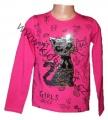 Měnící tričko, tunika - dl.rukáv - tm.růžové-velké - kočka