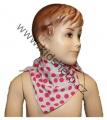 Šátek na krk - šedo-růžový - puntík