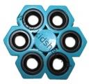 SPINNER - FIDGET - šestiložiskový - kovový - modrý