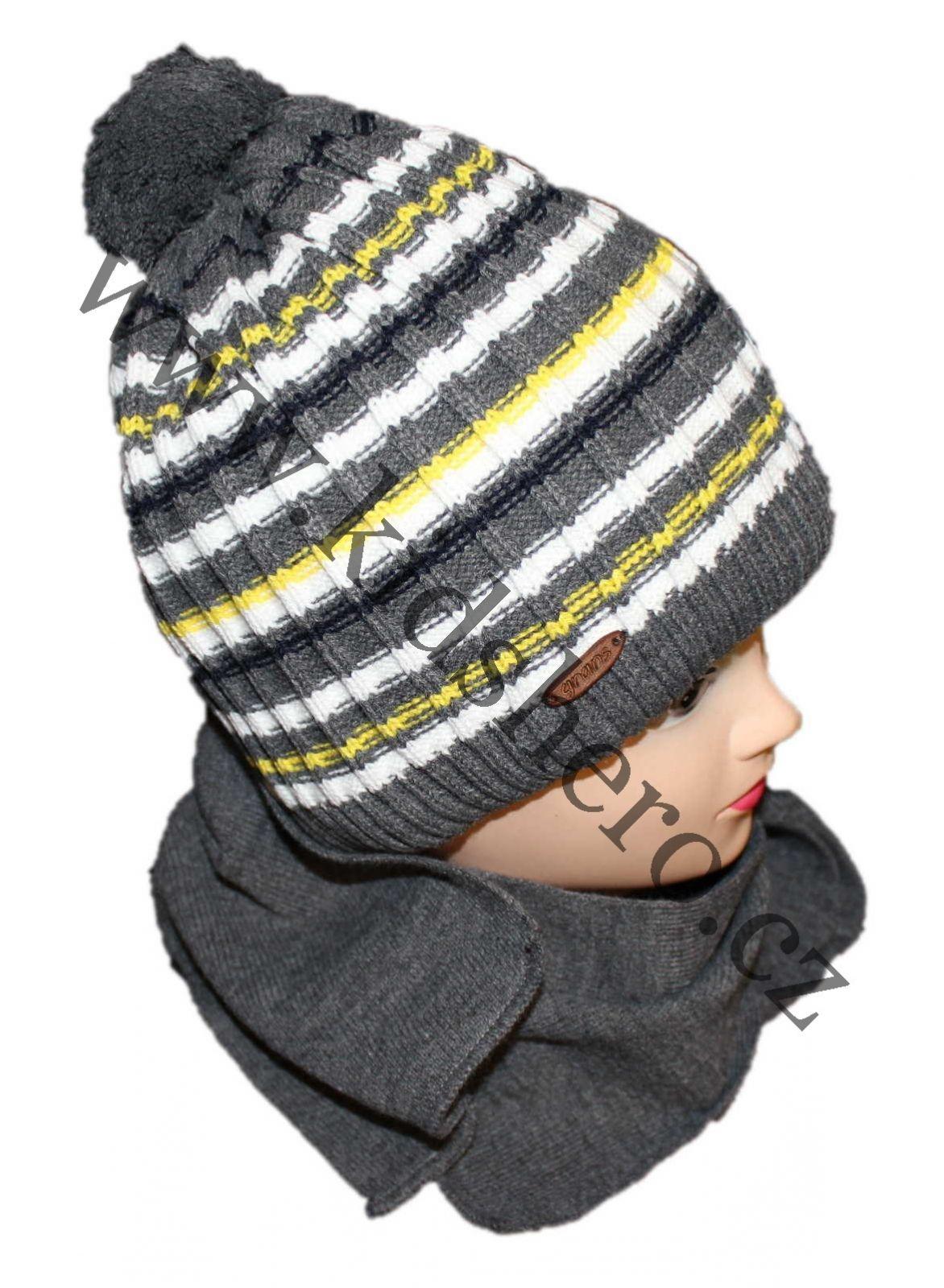 čepice a šála, čepice s bambulí šála zimní čepice zateplná čepice Grans