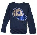 Měnící tričko, triko - dl.rukáv - chlapecké - kšiltovka - tm.modré