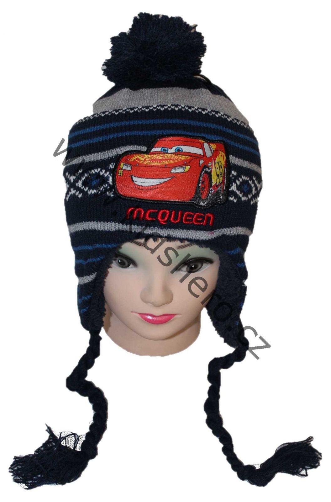 dětská čepice Cars, ušanka s auty, mc queen, chlapecká zimní čepice, chlapecká ušanka cars Disney
