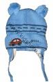 Kojenecká zimní čepice se zavazováním s autem, dvě bambule- tm.modrá
