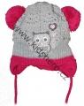 Kojenecká zimní čepice se zavazováním se sovou - šedo-růžová
