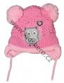 Kojenecká zimní čepice se zavazováním se sovou - sv.růžová