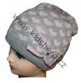Dětská zimní čepice se srdíčky - šedo-růžová