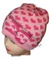 Dětská zimní čepice se srdíčky - sv.růžová