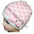 Dětská zimní čepice se srdíčky - bílo-růžová