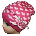 Dětská zimní čepice se srdíčky - tm-růžovo-bílá