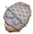 Dětská zimní čepice se srdíčky - růžovo-šedá