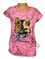 Měnící tričko, tunika kr.rukáv - oranžovo-růžové-fosforové - sova